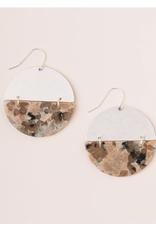 Full moon rising Rhodonite/Silver Earring