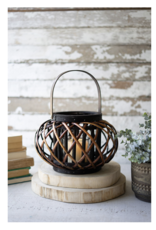 Kalalou Small Low Round Brown lantern