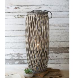 Kalalou Tall Grey Square Willow Lantern-large