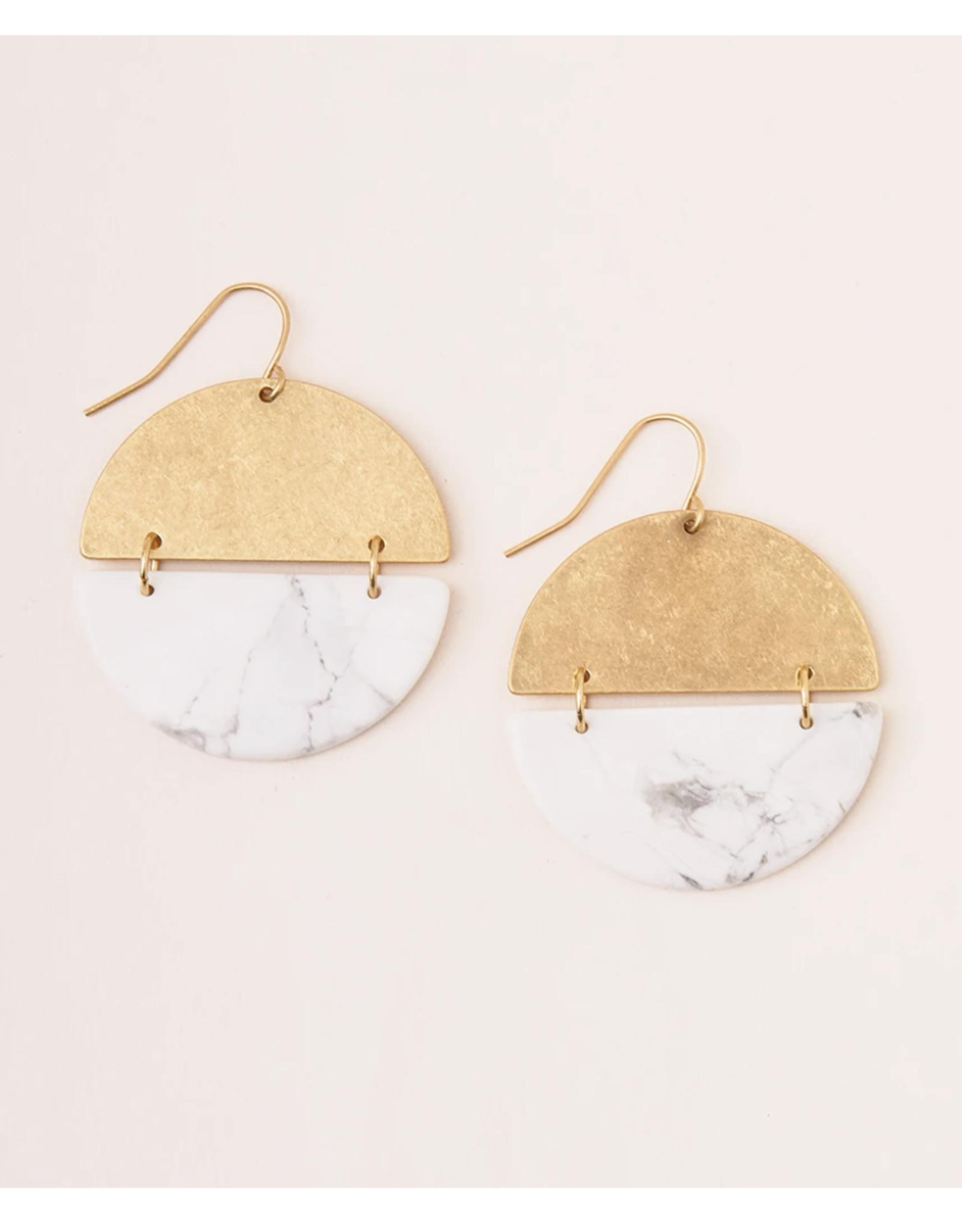 Stone Full Moon Earring-howlite/gold