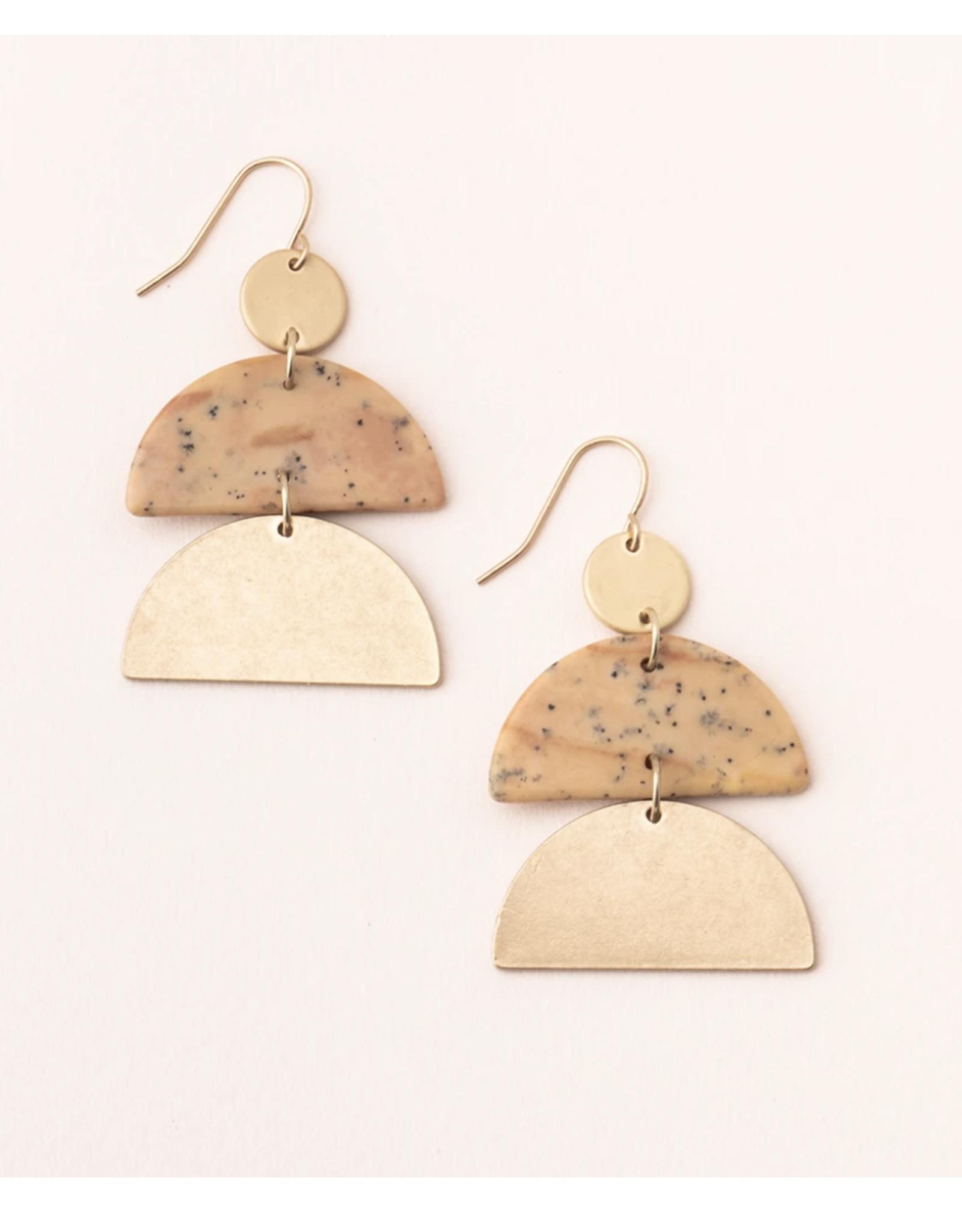 Stone Half moon petrified wood/gold earrings