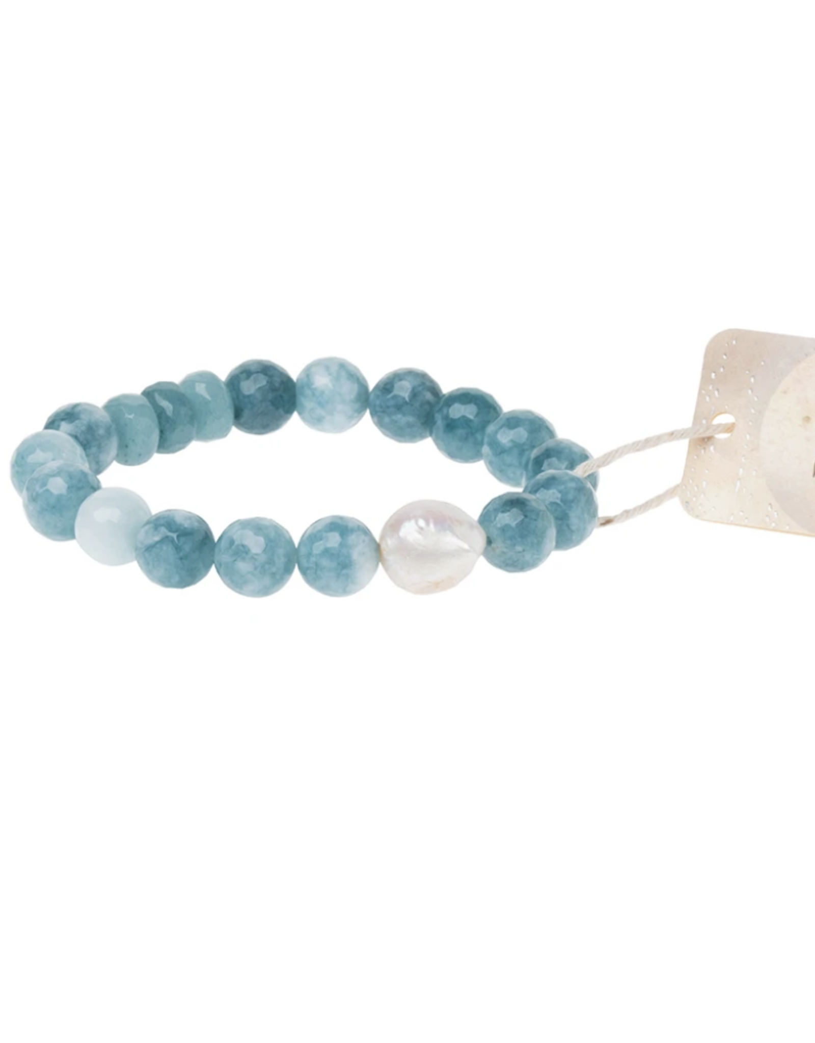 Pearl and Sea Blue Agate bracelet