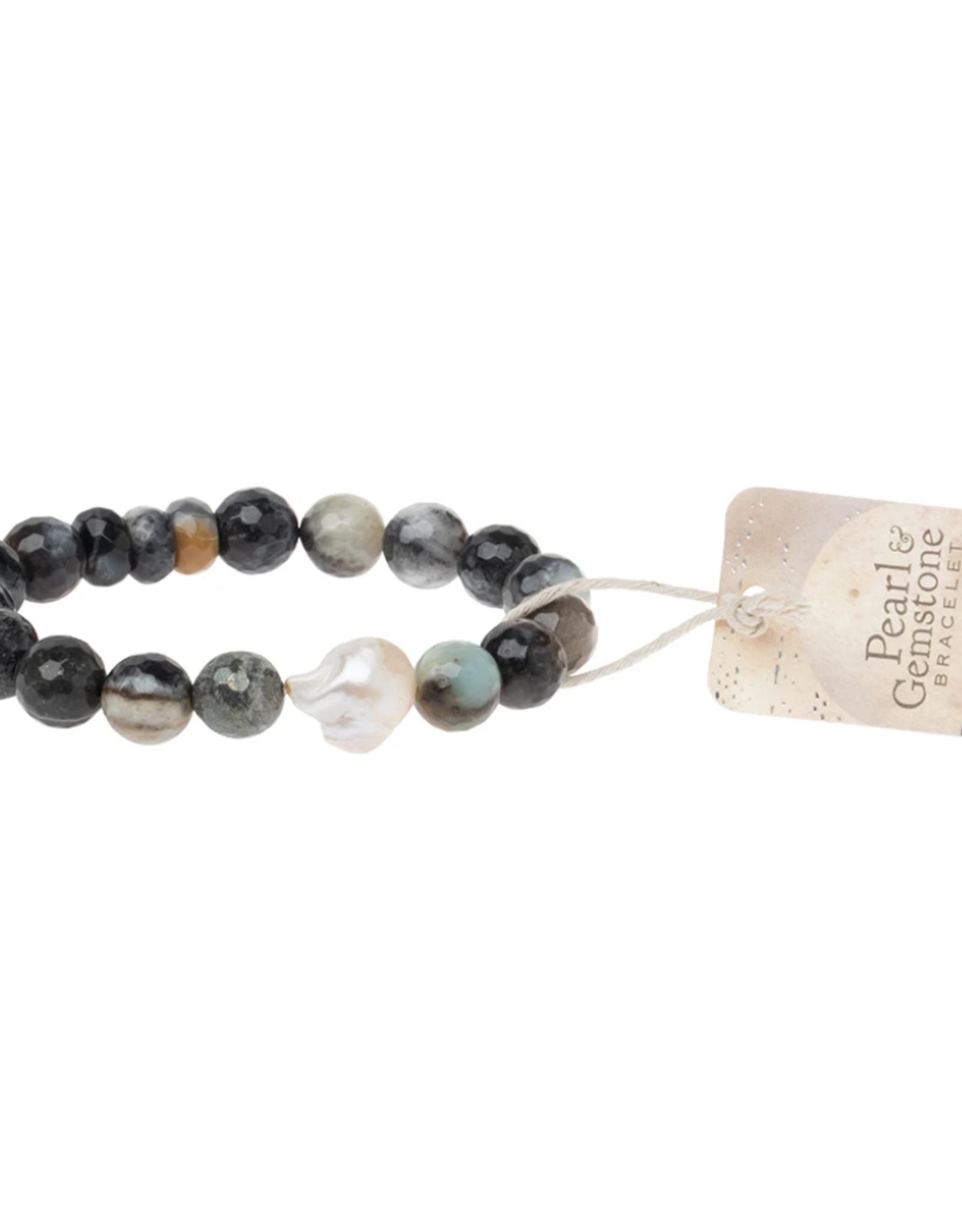 Pearl and Black Agate  Bracelet