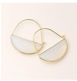 Stone Prism Hoop-Opalite/Gold