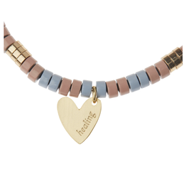 Stone Intention Charm Bracelet-Rhodonite/gold