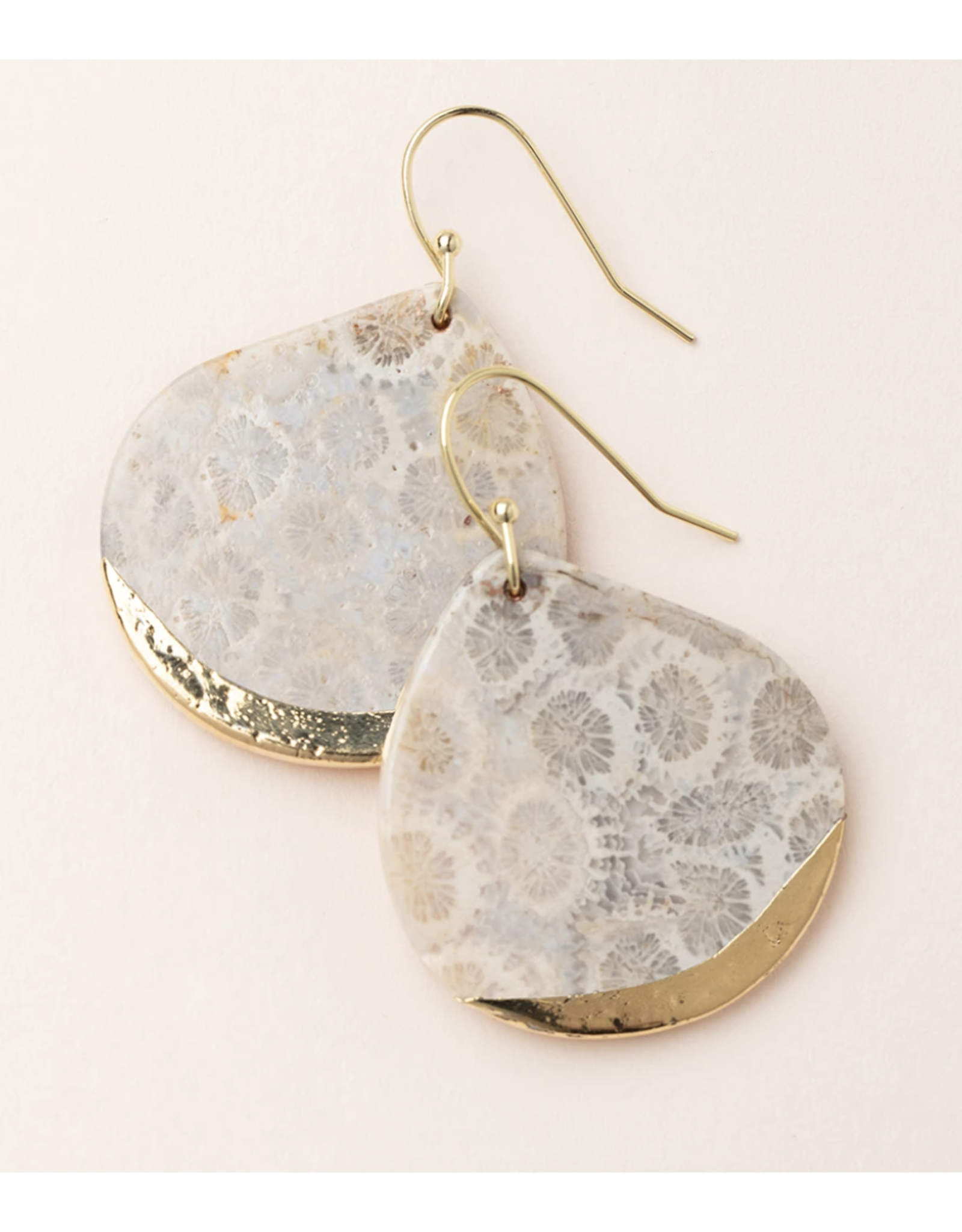 Stone Dipped Teardrop Earring-fossil Coral/Gold