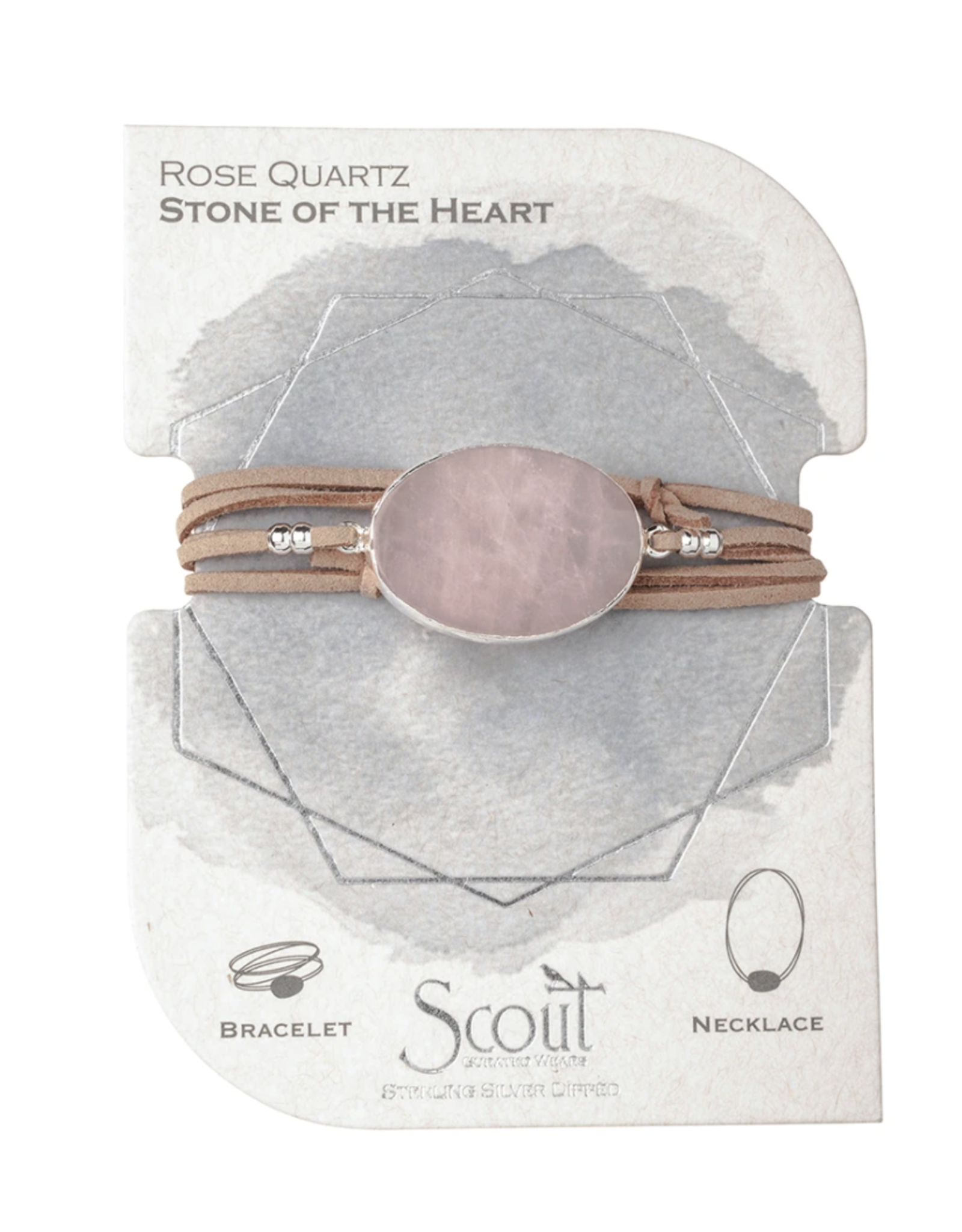 Suede/Stone Wrap-Rose Quartz silver