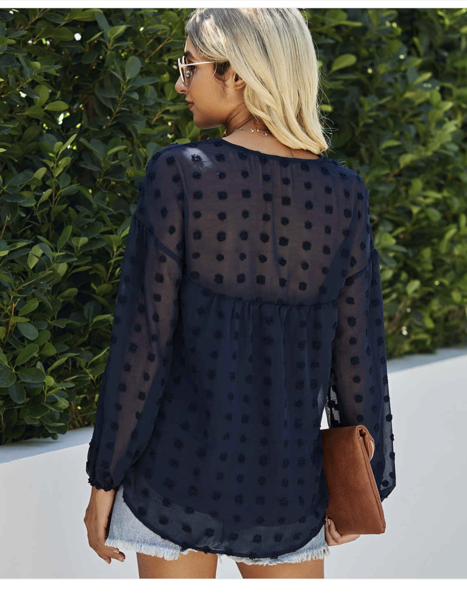 ePretty Navy Sheer Top with navy dots