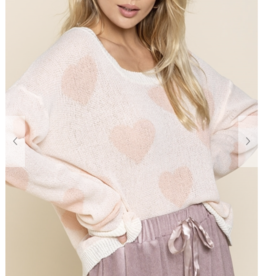 POL Clothing White/Peach  Heart Sweater