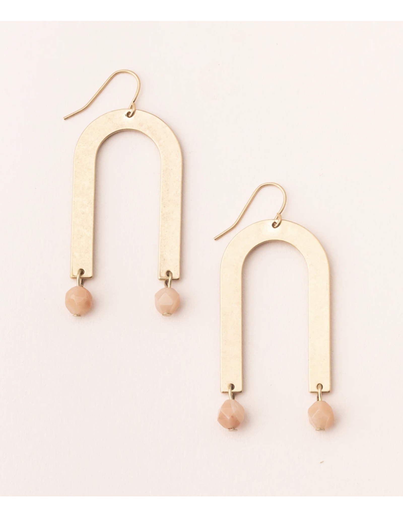 Stone Arches 14K gold dipped sunstone earrings