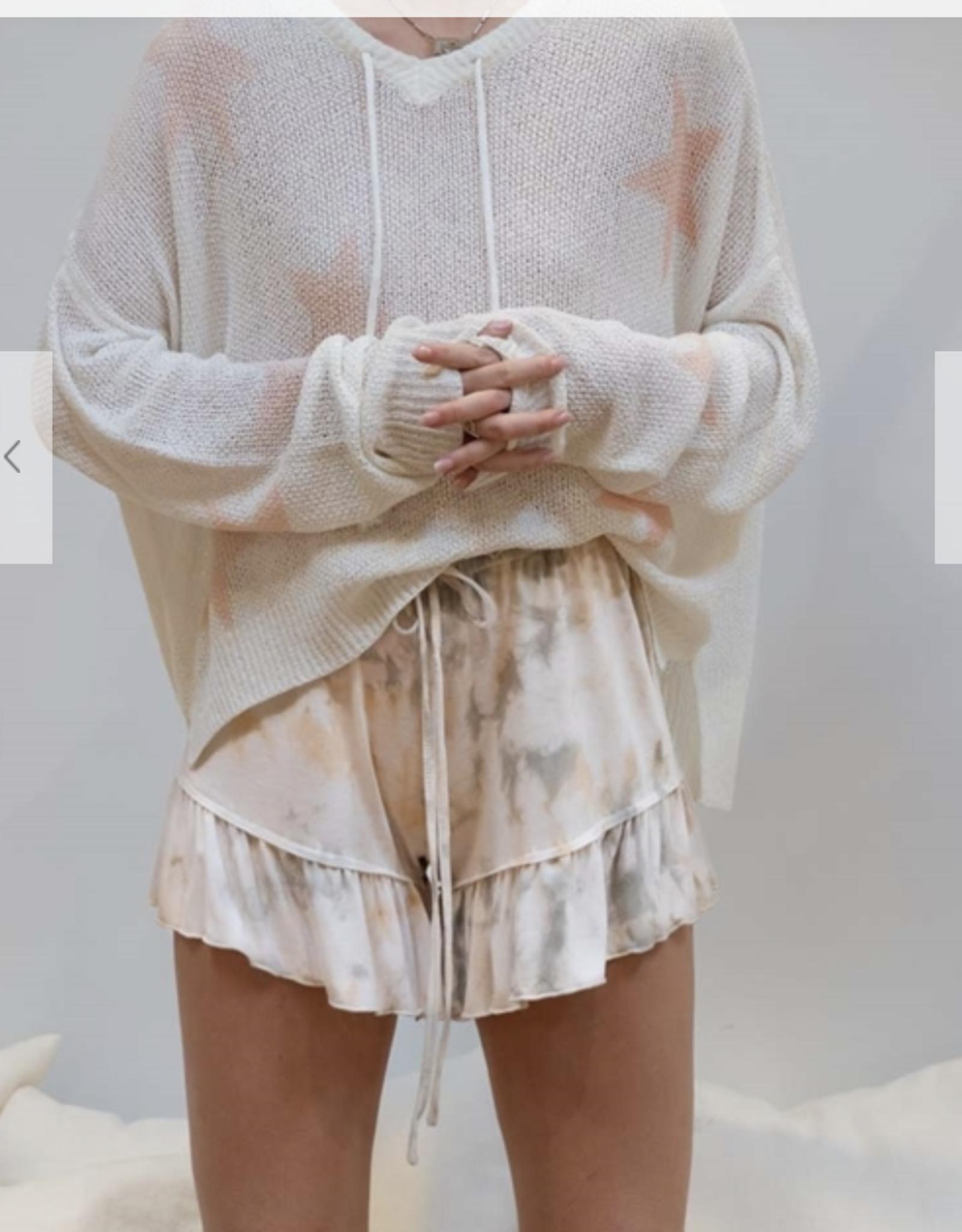 POL Clothing tie dye coconut blend knit shorts