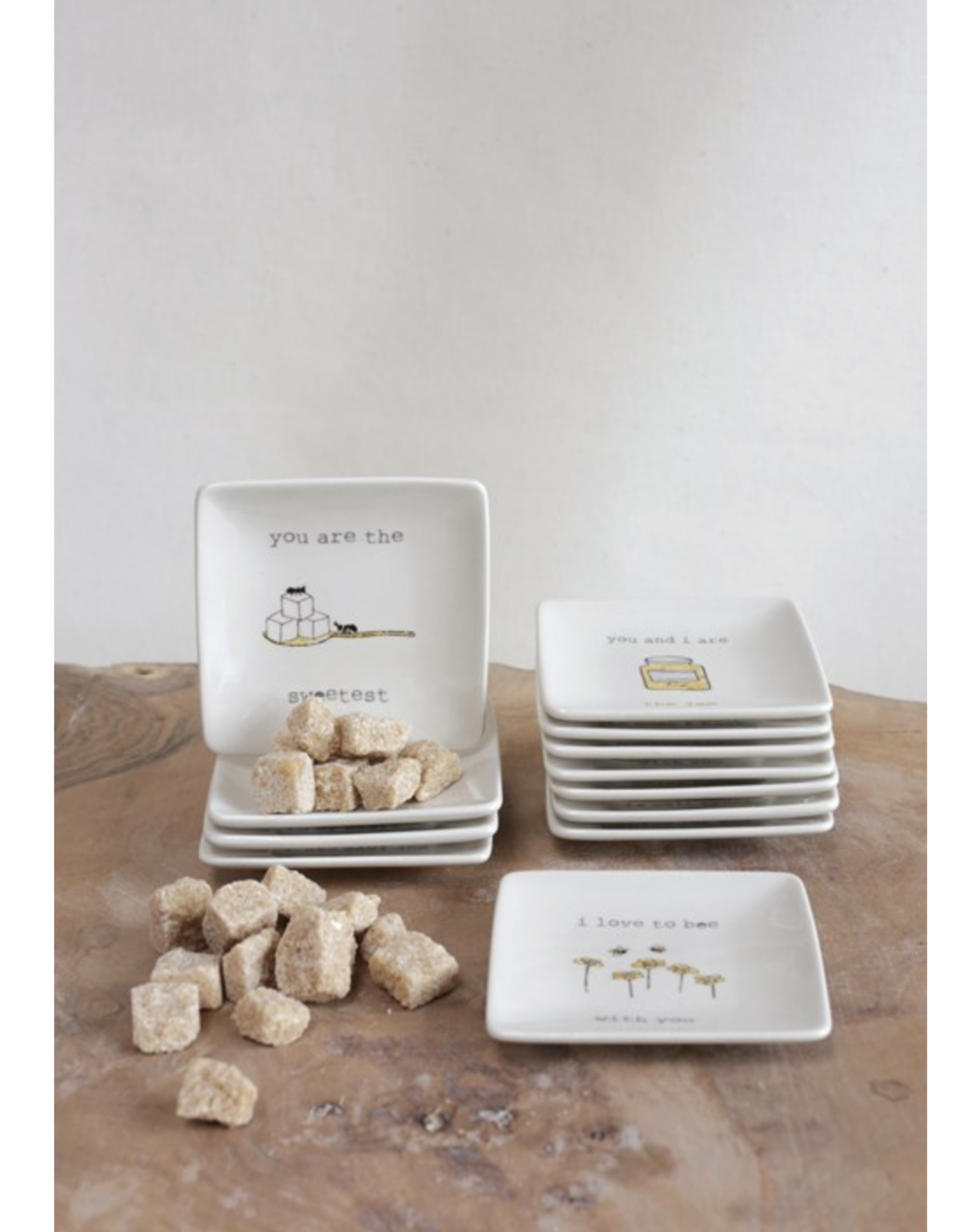 "4""Sq Stoneware Dish w Saying, 12 Styles"