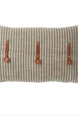 """20""""L x12""""W Striped Cotton w leather trim pillow"""