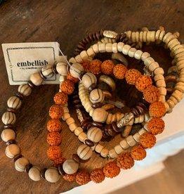 Wood and Acrylic Bracelet set of 6