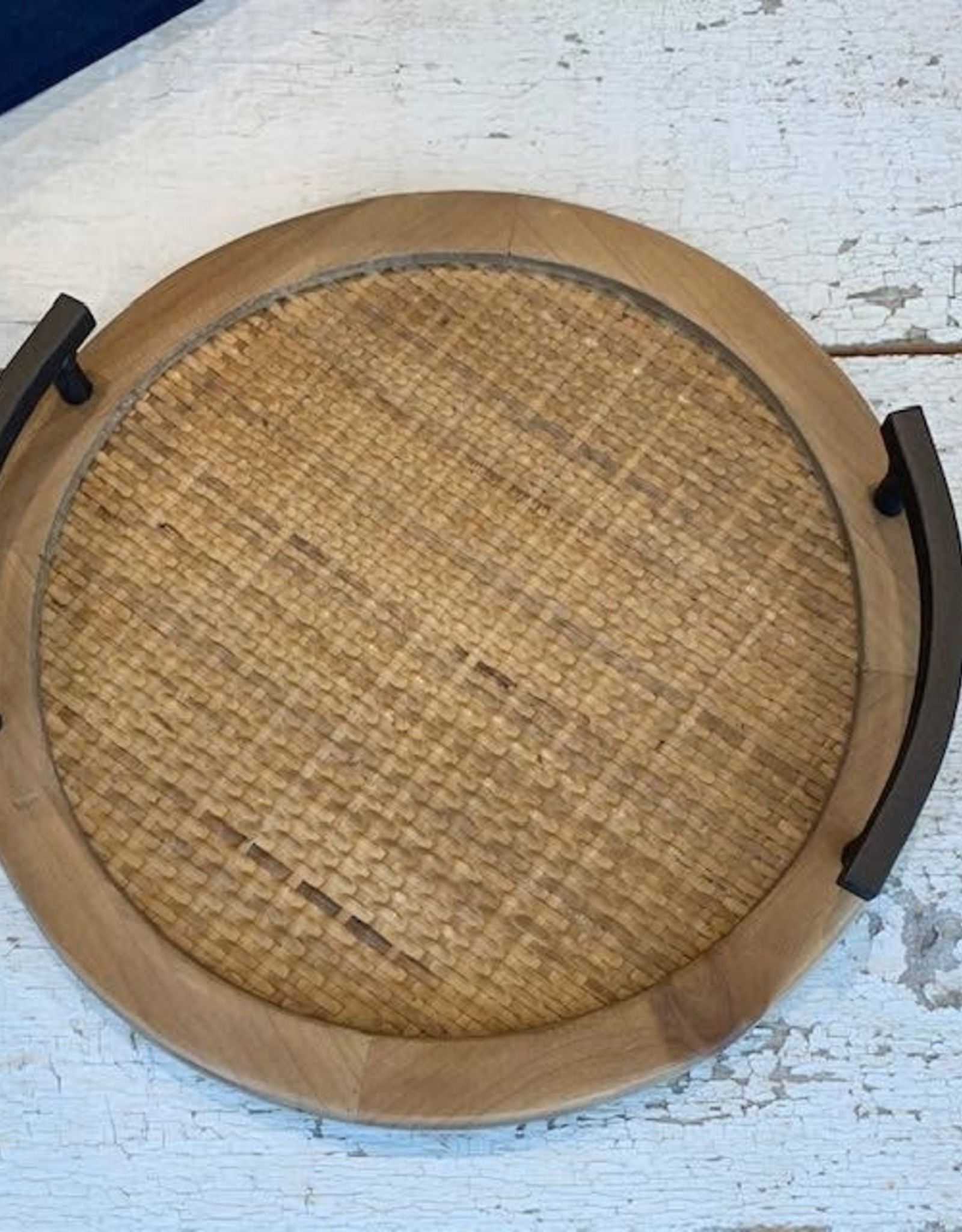 Melrose small wood and iron tray