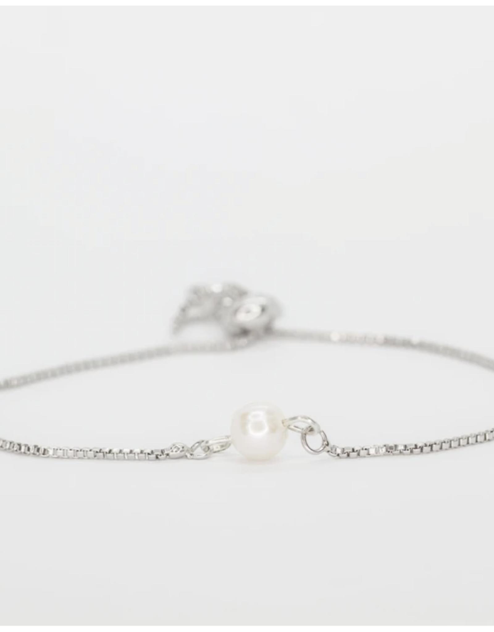 Salty Cali Fresh Water Pearl Bolo-Salty Shells Silver Bracelet