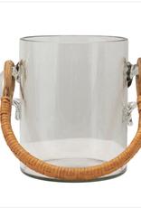 2 Qt. Glass Ice Bucket w/Rattan Handles