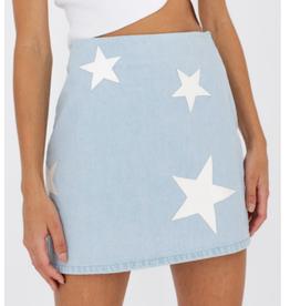 Le Lis Denim Mini Skirt w/star patches