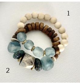 Coastal Grit Bali Sea Stack natural wood bead w/glass beads