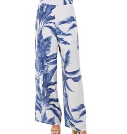 TCEC Blue Palm Leaves Linen Pants