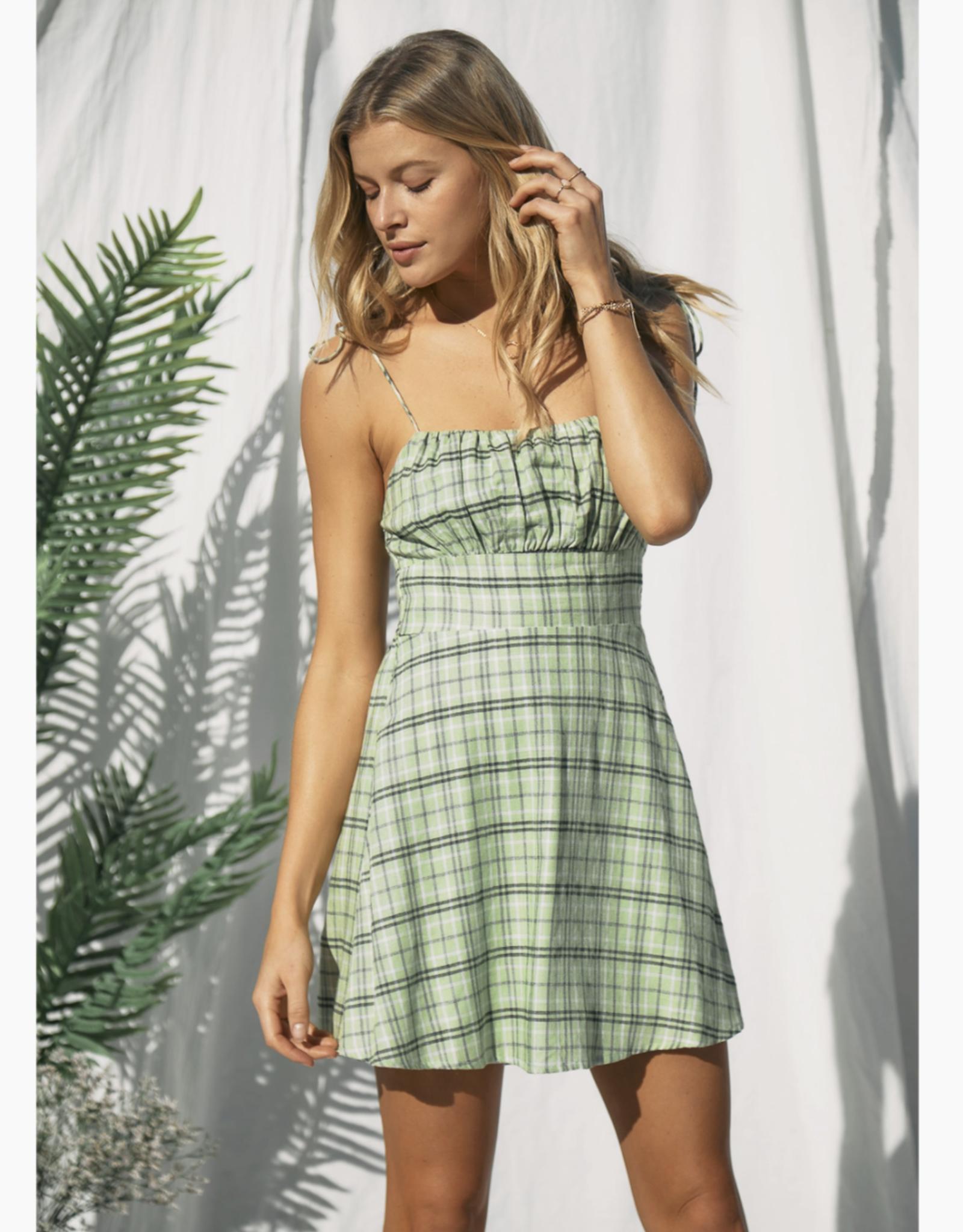 Endless Blu Lime Plaid Dress