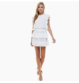 TCEC Pleated White Ruffle Dress