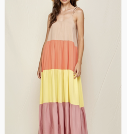 If She Loves Orange Colorblock Maxi Dress