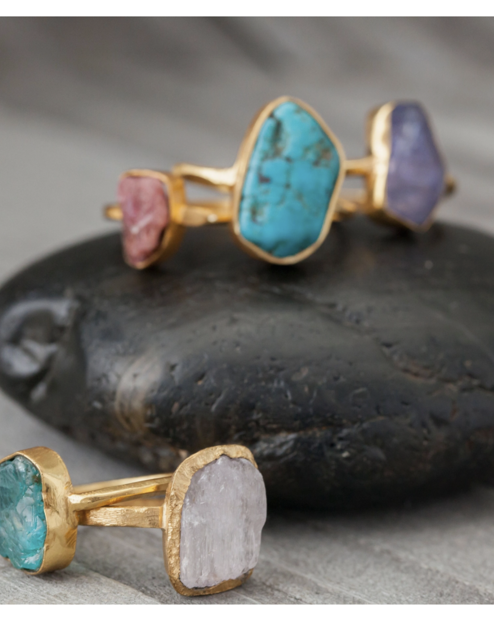 Baizaar Apatite stone  gold plated ring size 6
