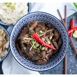 Plat Bœuf à la mongolienne avec Purée de Chou-Fleur