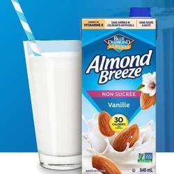 ALMOND BREEZE Unsweetened vanilla almond milk 946ml