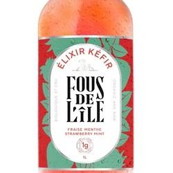 FOUS DE L'ÎLE Kéfir fraise et menthe 1L