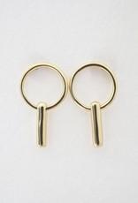 Charlie Link Bar Earrings Gold