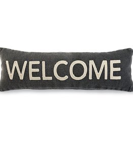 Welcome Black Dhurrie Pillow