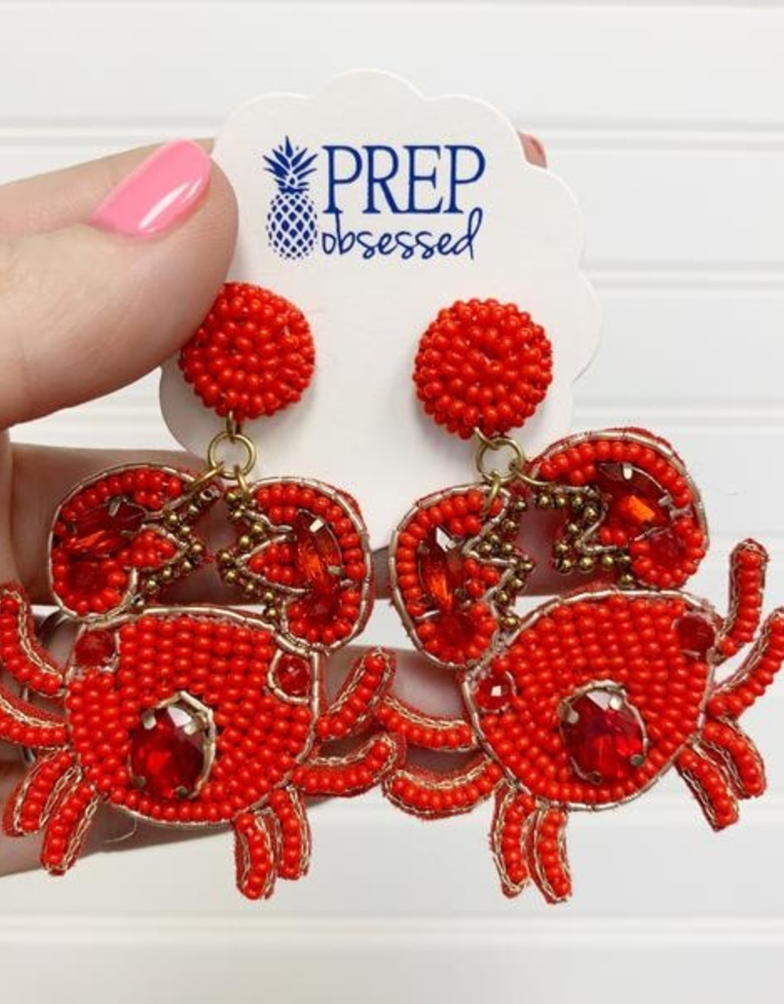Crab Beaded Dangle Earrings