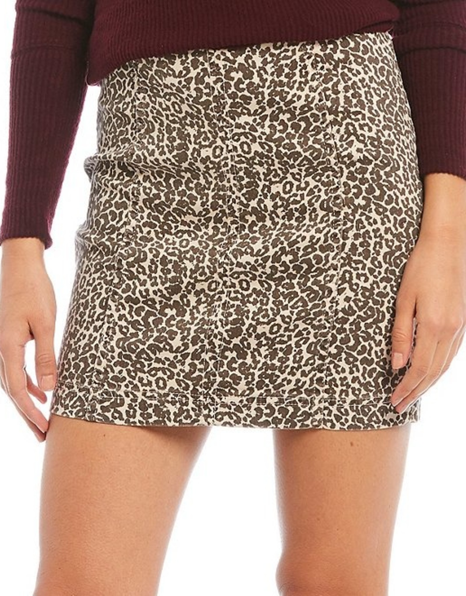 Free People Modern Femme Novelty Leopard Skirt