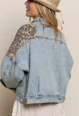 POL Clothing Denim Leopard Jacket