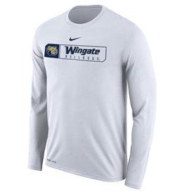 Nike White Wingate Bulldogs Drifit LS