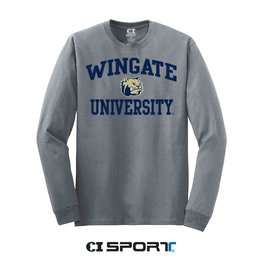Grey Wingate Dog Head University LS Tee