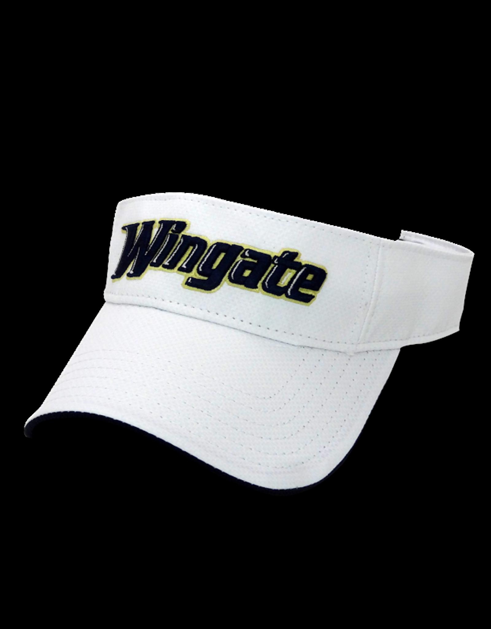 White Visor Wingate Athletic Font