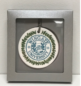 Navy and Green Ceramic Ornament with Seal