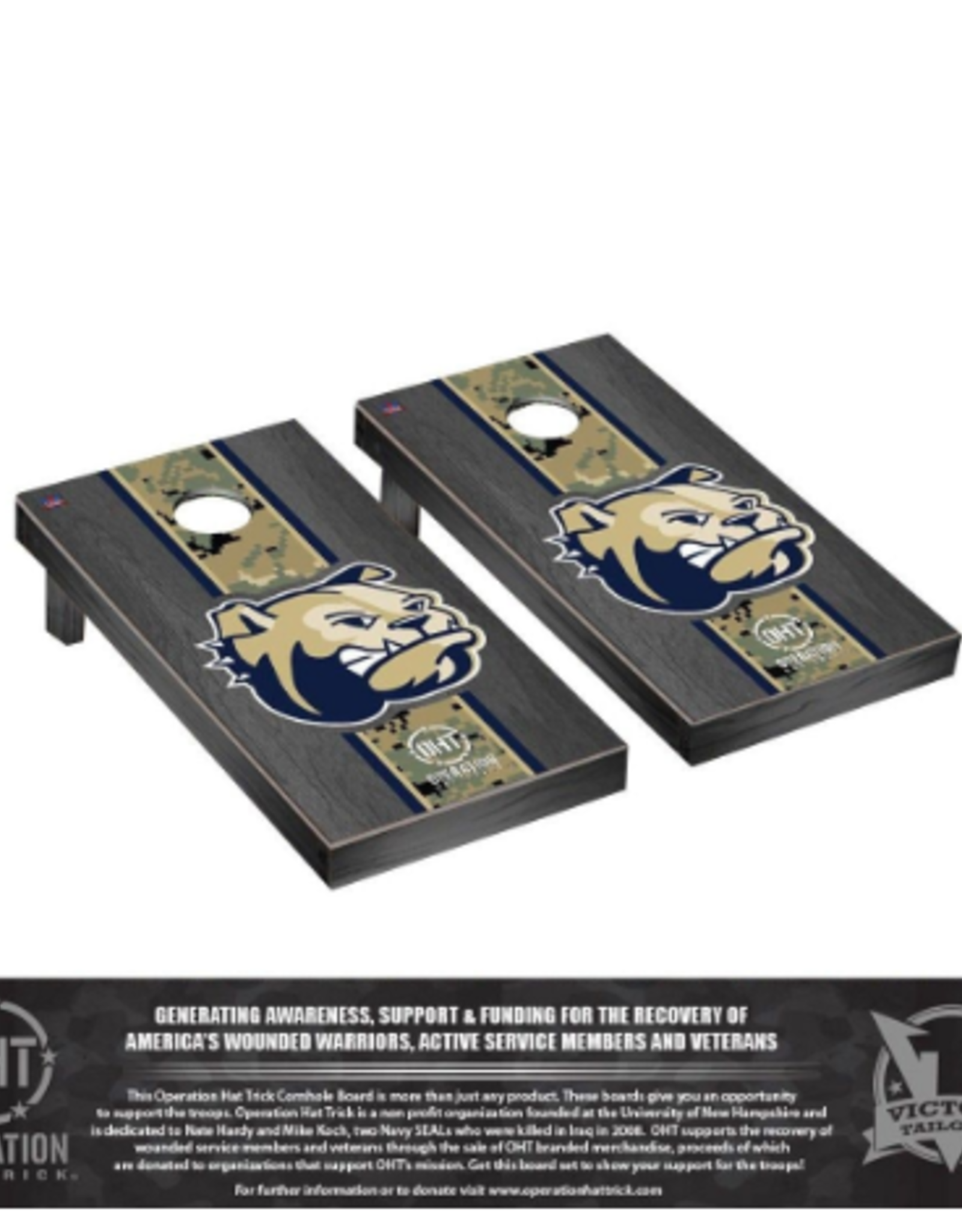 Victory Tailgate Operation Hat Trick Regulation Cornhole Game Set Onyx Stained Stripe Design (ONL