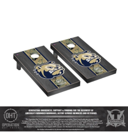 Operation Hat Trick Regulation Cornhole Game Set Onyx Stained Stripe Design (ONL