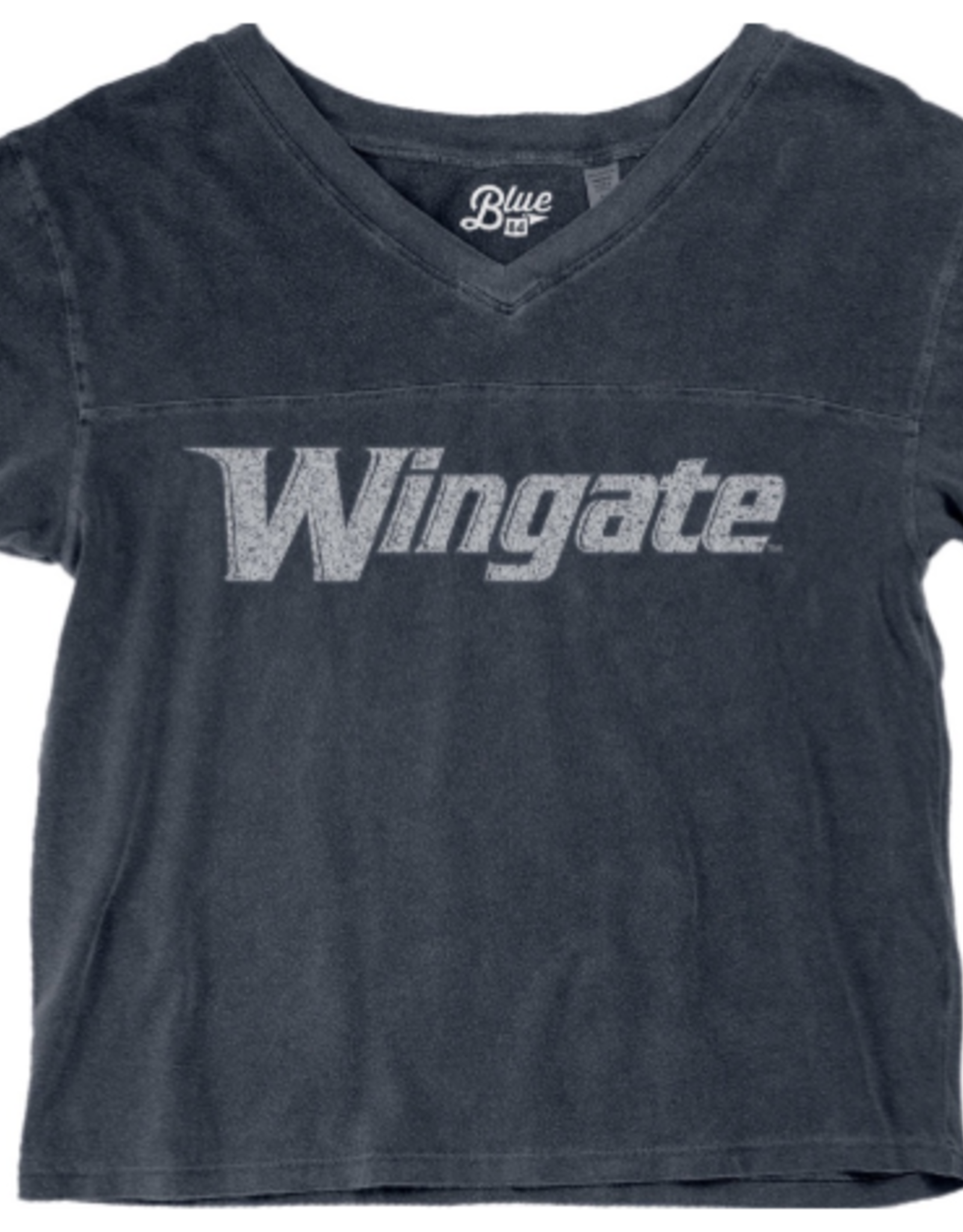 Indigo Dyed Wingate Crop V-Neck Tee