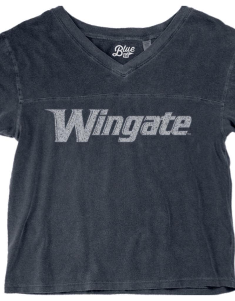 Indigo Dyed Wingate Crop V-Neck Tee