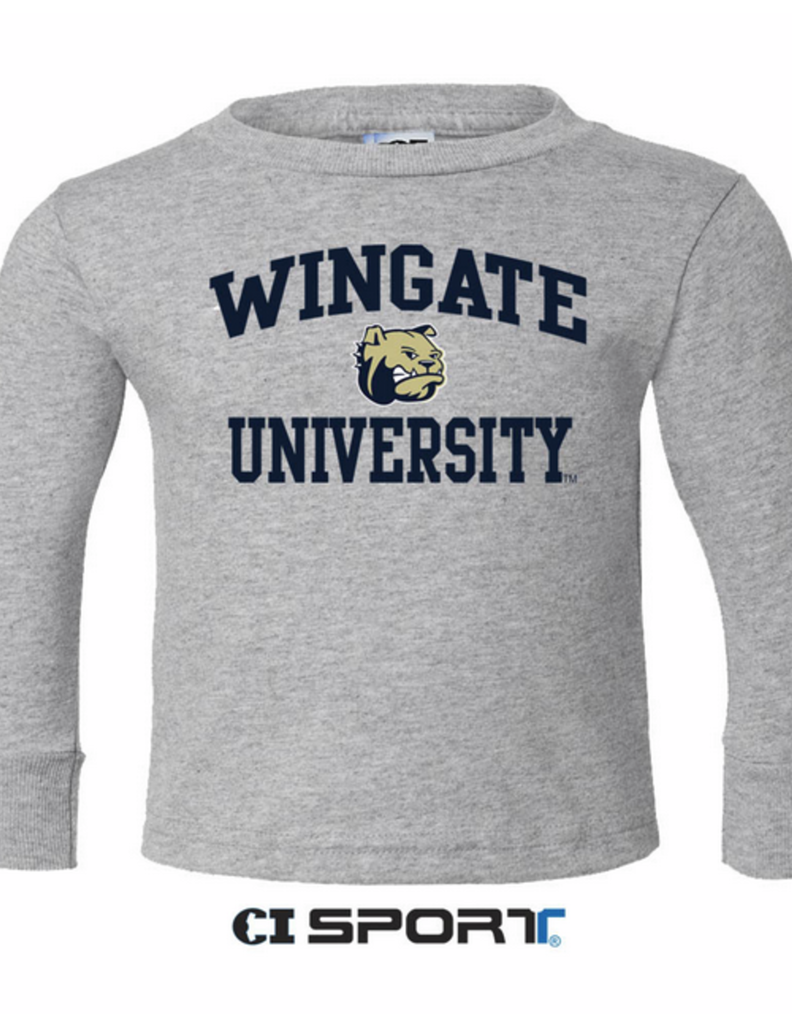 Toddler Wingate Dog Head University Grey LS Tee