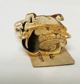 Gold Dog Head Ring