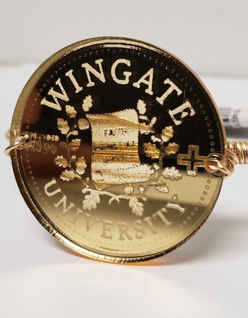 Gold Acrylic School Seal Pearls Wire Wrap Bracelet