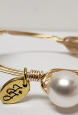 Gold Acrylic School Seal Pearls Wire Wrap Bracelet