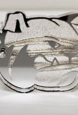 Silver Acrylic Bulldog Head Pearls Wire Wrap Bracelet