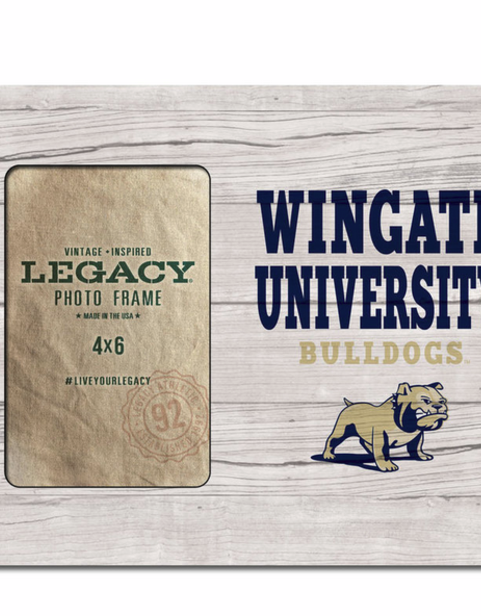 6X4 Faux Wood Frame Wingate University Bulldogs Full Dog